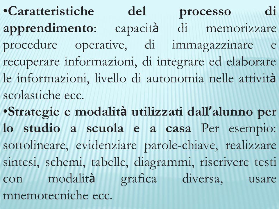 Caratteristiche del processo di apprendimento: capacit à di memorizzare procedure operative, di immagazzinare e recuperare informazioni, di integrare