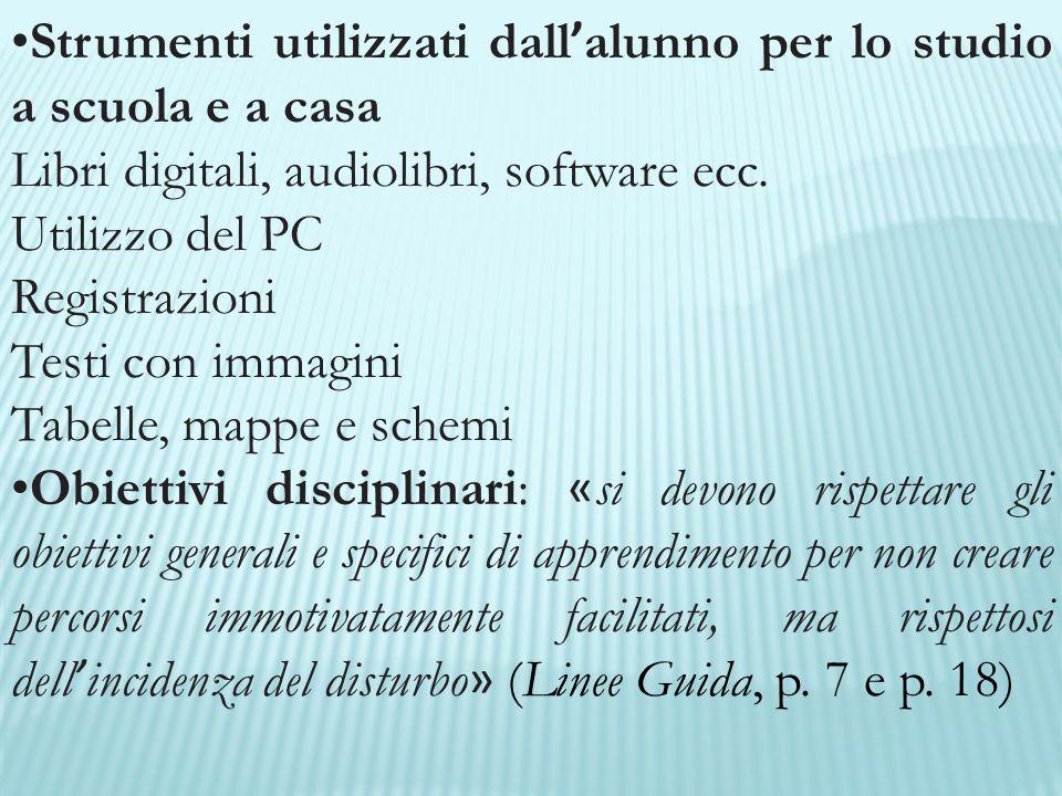 Strumenti utilizzati dall ' alunno per lo studio a scuola e a casa Libri digitali, audiolibri, software ecc. Utilizzo del PC Registrazioni Testi con i