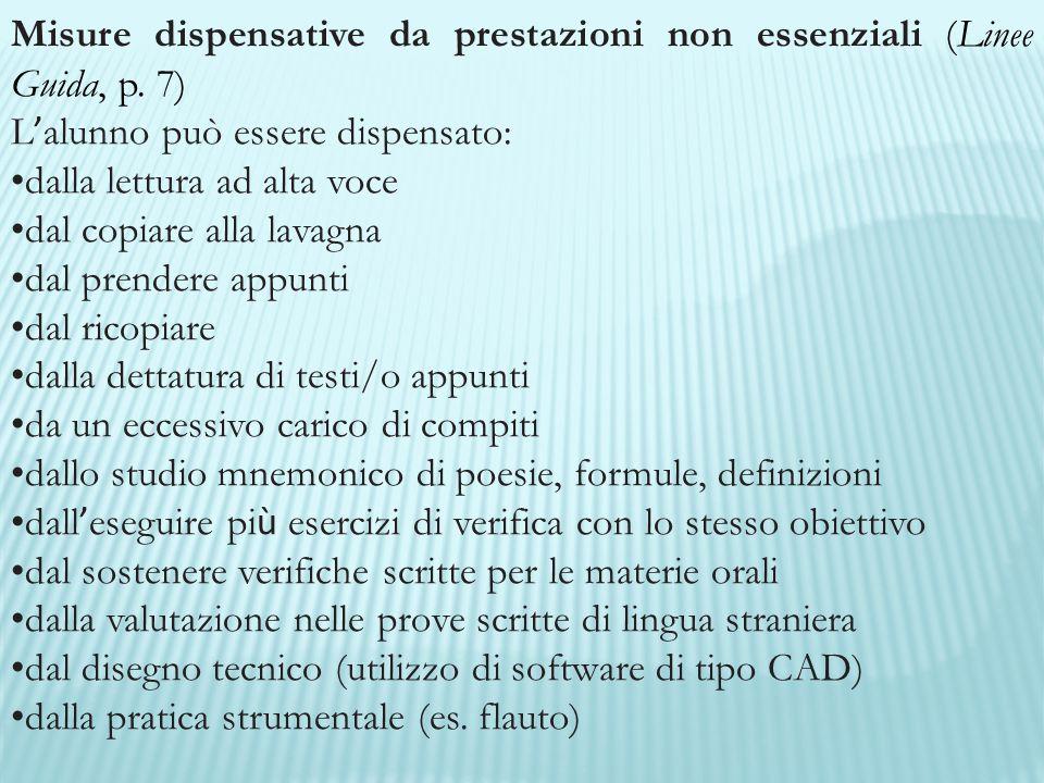 Misure dispensative da prestazioni non essenziali (Linee Guida, p. 7) L ' alunno può essere dispensato: dalla lettura ad alta voce dal copiare alla la