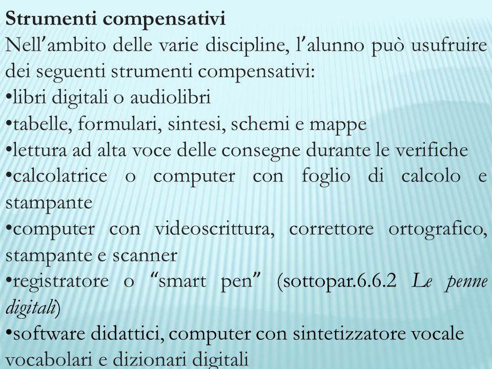 Strumenti compensativi Nell ' ambito delle varie discipline, l ' alunno può usufruire dei seguenti strumenti compensativi: libri digitali o audiolibri