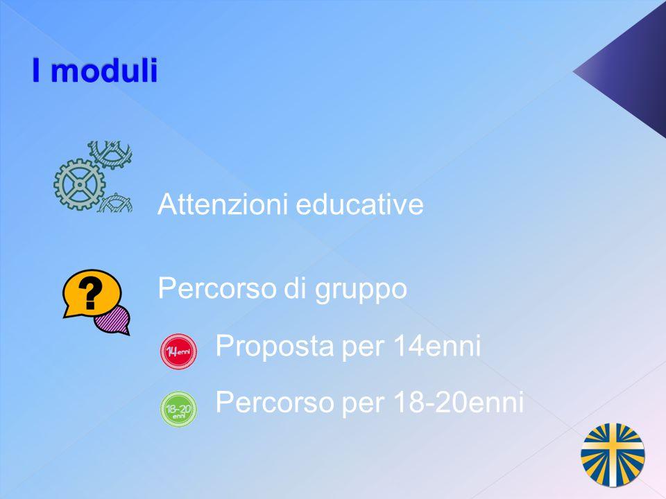 I moduli Proposta per 14enni Percorso per 18-20enni Attenzioni educative Percorso di gruppo