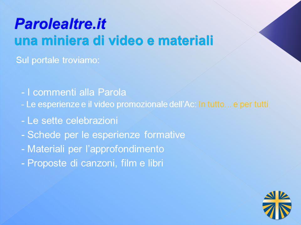Parolealtre.it una miniera di video e materiali Sul portale troviamo: - Proposte di canzoni, film e libri - Materiali per l'approfondimento - Schede p