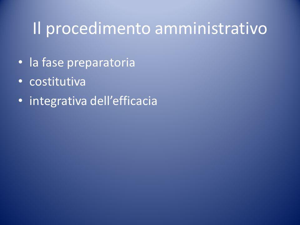 Il procedimento amministrativo la fase preparatoria costitutiva integrativa dell'efficacia