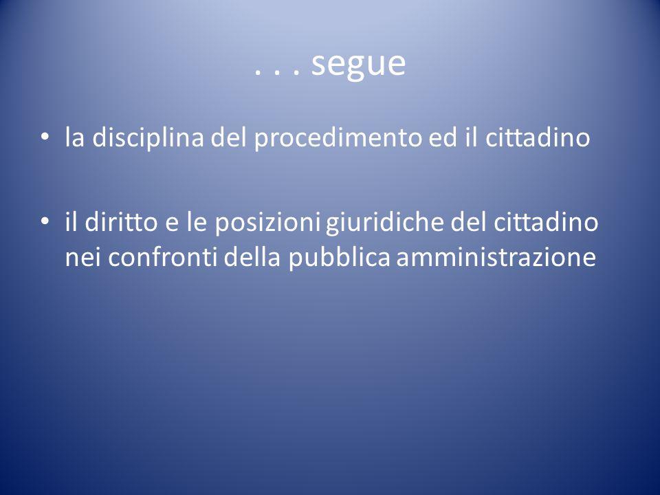 ... segue la disciplina del procedimento ed il cittadino il diritto e le posizioni giuridiche del cittadino nei confronti della pubblica amministrazio