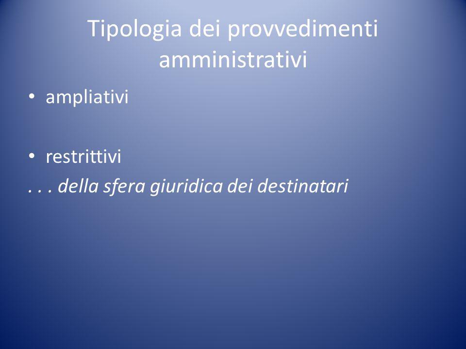 Tipologia dei provvedimenti amministrativi ampliativi restrittivi...