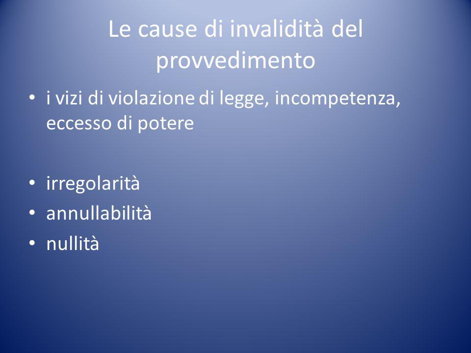 Le cause di invalidità del provvedimento i vizi di violazione di legge, incompetenza, eccesso di potere irregolarità annullabilità nullità