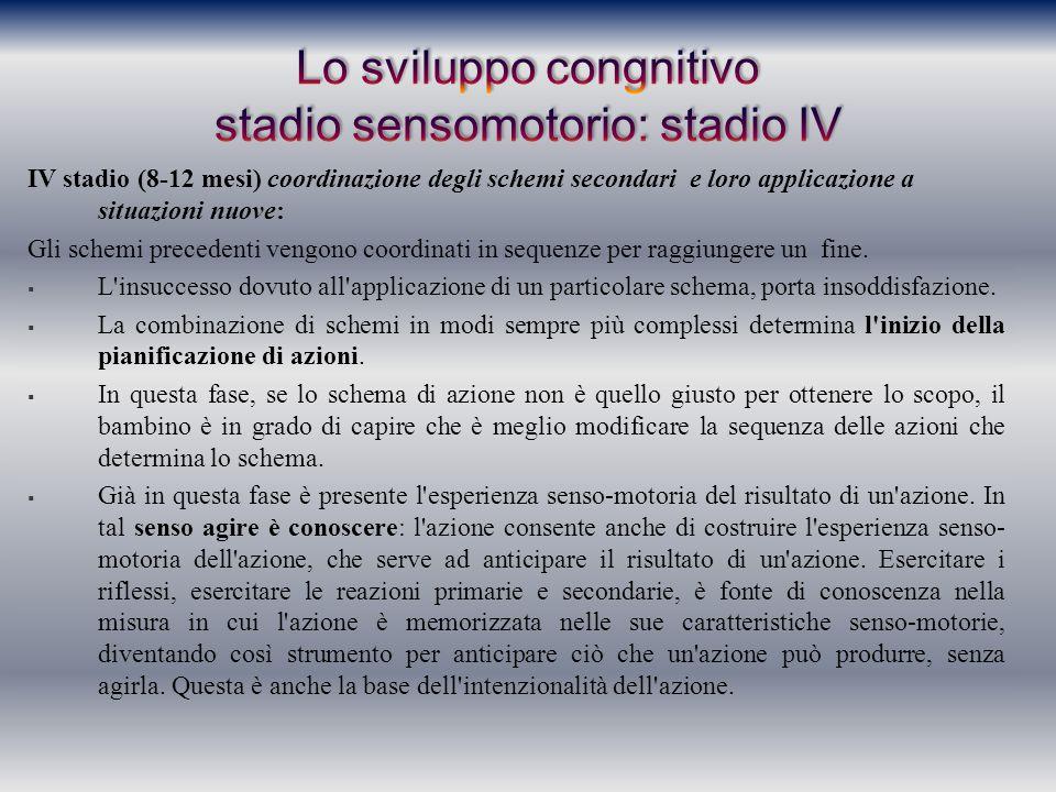 IV stadio (8-12 mesi) coordinazione degli schemi secondari e loro applicazione a situazioni nuove: Gli schemi precedenti vengono coordinati in sequenz