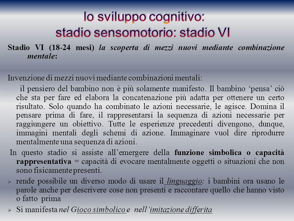 Stadio VI (18-24 mesi) la scoperta di mezzi nuovi mediante combinazione mentale: Invenzione di mezzi nuovi mediante combinazioni mentali: il pensiero