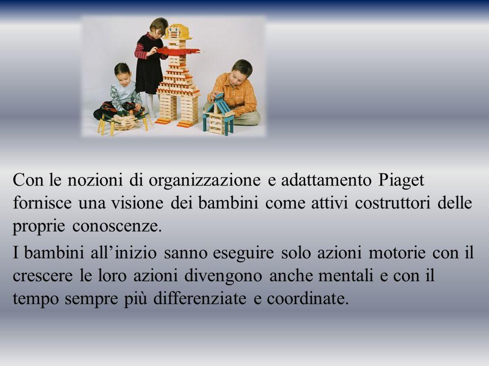 Con le nozioni di organizzazione e adattamento Piaget fornisce una visione dei bambini come attivi costruttori delle proprie conoscenze. I bambini all