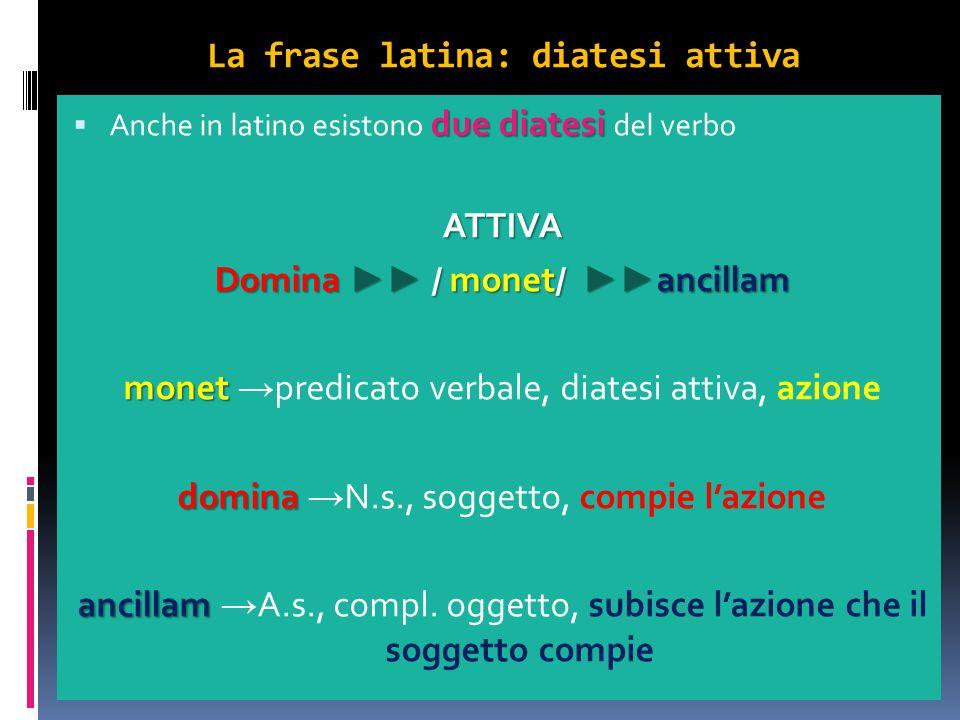 La frase latina: diatesi attiva due diatesi  Anche in latino esistono due diatesi del verboATTIVA Domina ►► / monet/ ►► ancillam monet monet → predic