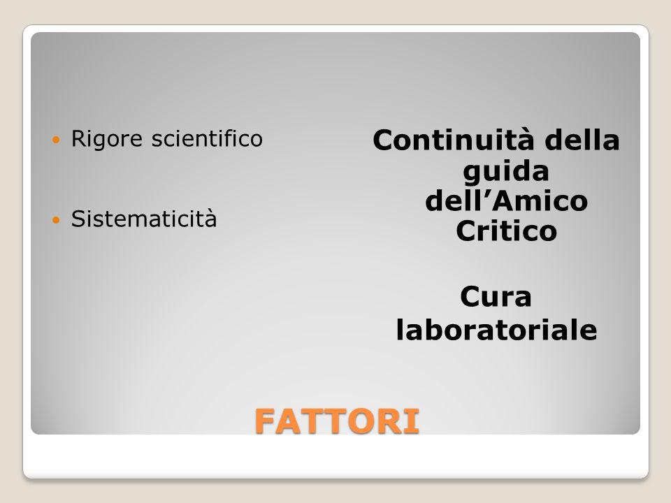 FATTORI Rigore scientifico Sistematicità Continuità della guida dell'Amico Critico Cura laboratoriale
