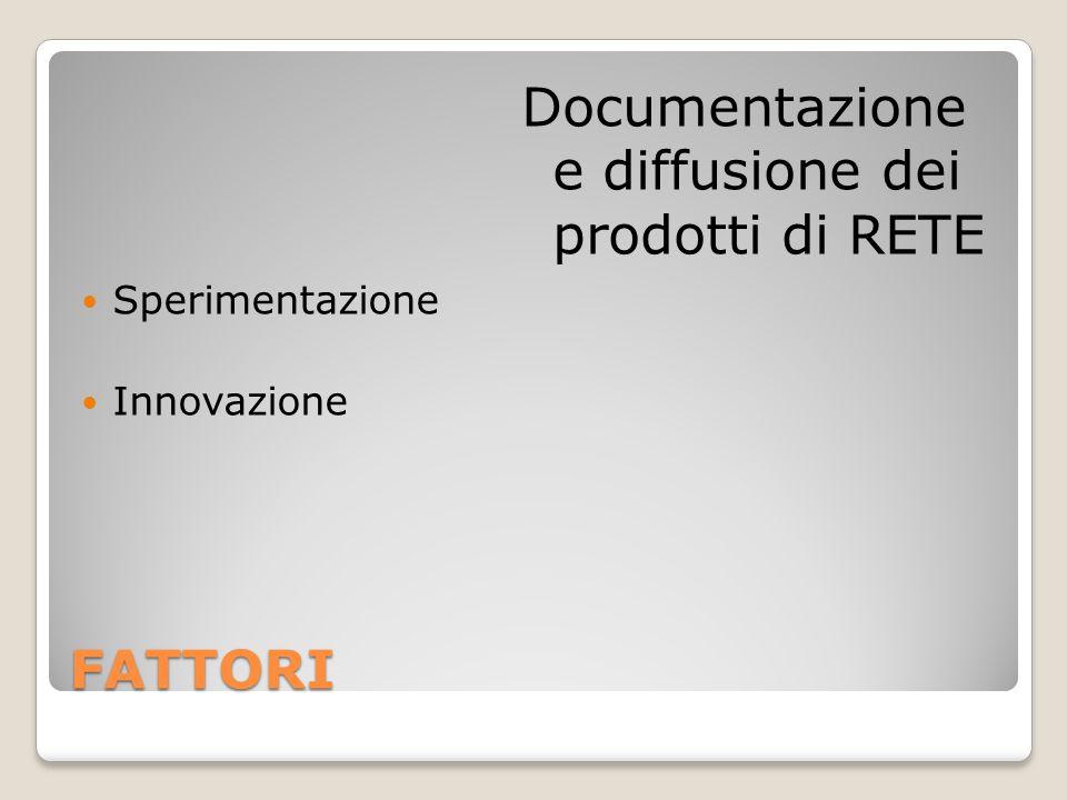 FATTORI Sperimentazione Innovazione Documentazione e diffusione dei prodotti di RETE