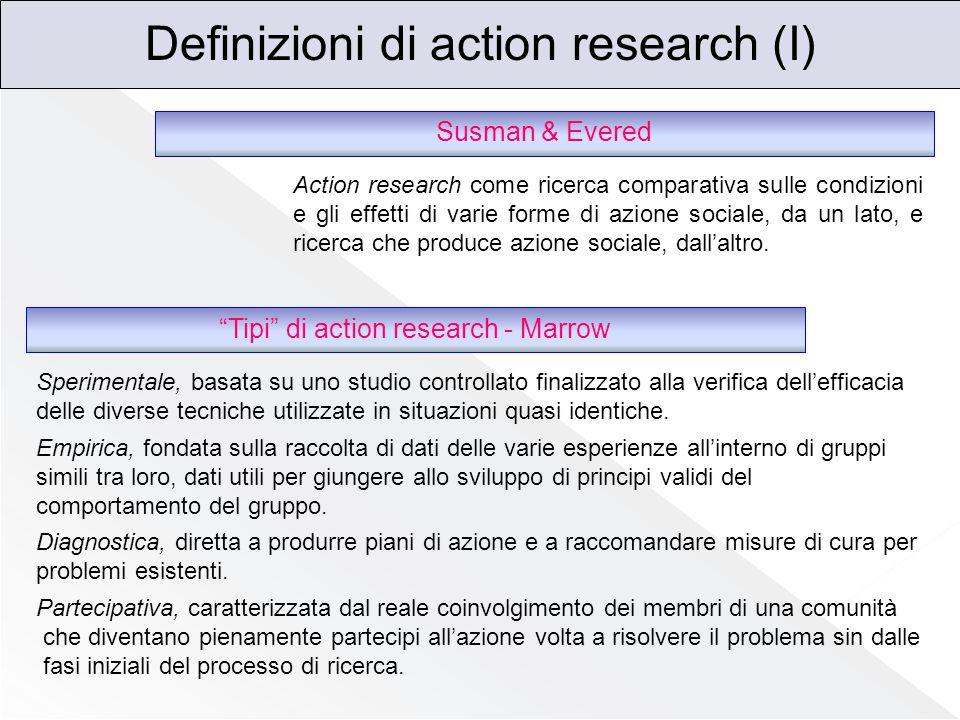 Definizioni di action research (II) Cunningham Action research è un insieme di attività, basate su ricerca, pianificazione, teorizzazione, apprendimento e sviluppo, che dà vita ad un continuo processo di ricerca e apprendimento nella relazione tra ricercatori alle prese con un determinato problema quattro assunti che stabiliscono un equilibrio tra esigenze teoriche e pratiche 1.Comporta il coinvolgimento attivo dell'organizzazione coadiuvato da esperti e/o consulenti esterni, il cui ruolo è diretto sia ad orientare l'organizzazione a decidere per il cambiamento sia ad agevolare l'esplicitazione e l 'elaborazione degli aspetti emotivi connessi al cambiamento stesso 2.Forza la partecipazione sia nella ricerca che nell'azione; 3.Forza i processi di gruppo e fa emergere i fattori e le dinamiche che favoriscono o ostacolano l'azione del gruppo stesso 4.Punta al cambiamento, inteso come progetto logicamente articolato e efficacemente disegnato tra pianificazione, implementazione e valutazione