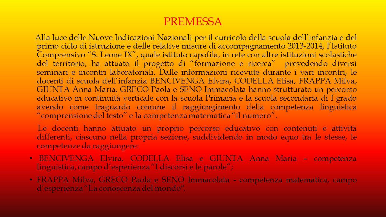 SCUOLA DELL'INFANZIA LAURO SEZ C (3 ANNI) CAMPO D'ESPERIENZA I DISCORSI E LE PAROLE