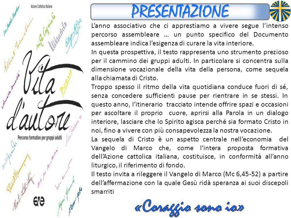 I contenuti e i passi del Testo L A BUSSOLA ORIENTARSI NEL TESTO L'icona evangelica di quest'anno è dell'evangelista Marco : Coraggio, sono io, non abbiate paura! (Mc 6,45-52).