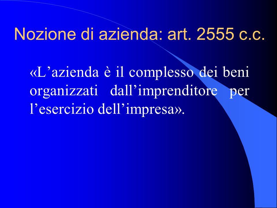 Nozione di azienda: art. 2555 c.c. «L'azienda è il complesso dei beni organizzati dall'imprenditore per l'esercizio dell'impresa».