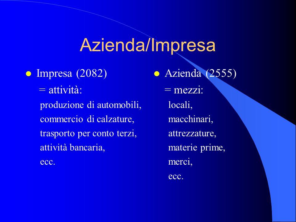 Azienda/Impresa l Impresa (2082) = attività: produzione di automobili, commercio di calzature, trasporto per conto terzi, attività bancaria, ecc. l Az