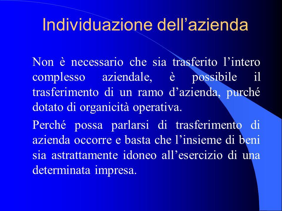 Individuazione dell'azienda Non è necessario che sia trasferito l'intero complesso aziendale, è possibile il trasferimento di un ramo d'azienda, purch