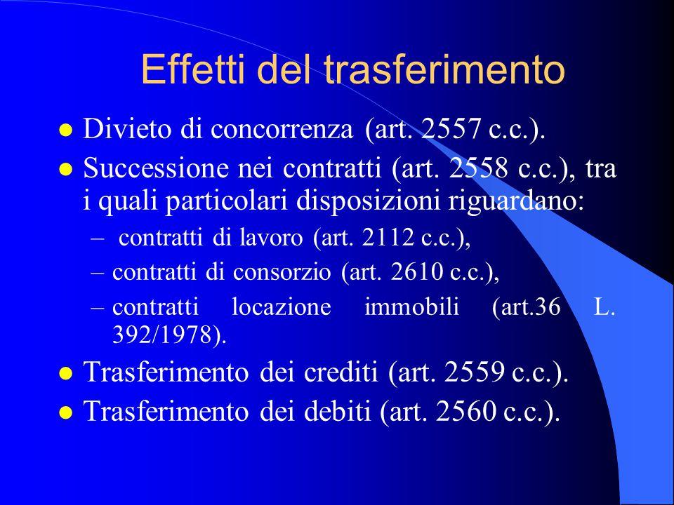 Effetti del trasferimento l Divieto di concorrenza (art. 2557 c.c.). l Successione nei contratti (art. 2558 c.c.), tra i quali particolari disposizion