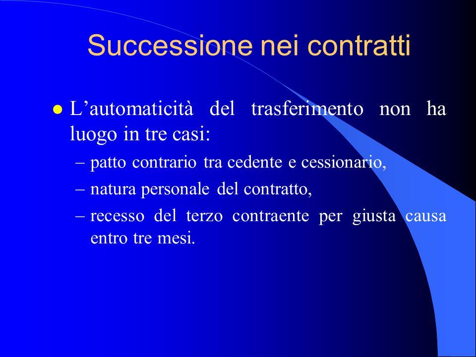 Successione nei contratti l L'automaticità del trasferimento non ha luogo in tre casi: –patto contrario tra cedente e cessionario, –natura personale d