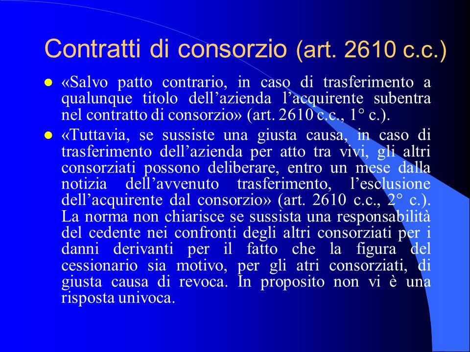 Contratti di consorzio (art. 2610 c.c.) l «Salvo patto contrario, in caso di trasferimento a qualunque titolo dell'azienda l'acquirente subentra nel c