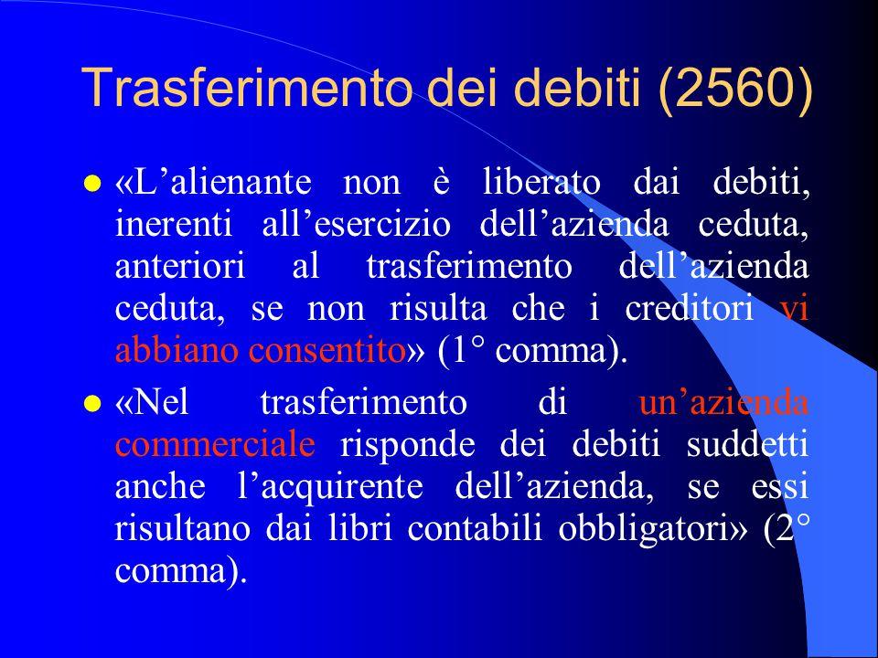 Trasferimento dei debiti (2560) l «L'alienante non è liberato dai debiti, inerenti all'esercizio dell'azienda ceduta, anteriori al trasferimento dell'