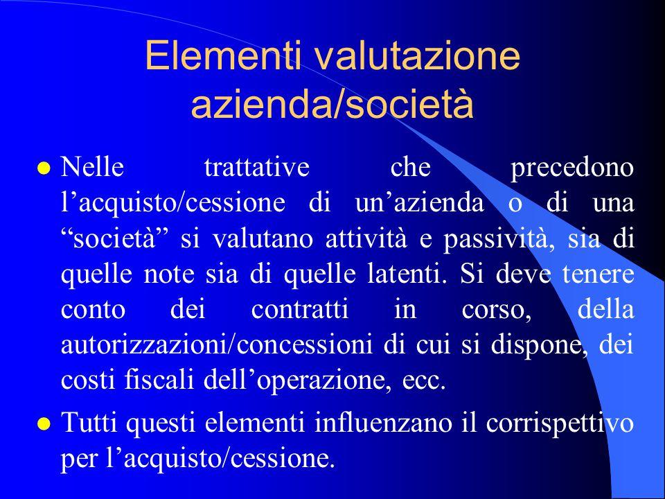 """Elementi valutazione azienda/società l Nelle trattative che precedono l'acquisto/cessione di un'azienda o di una """"società"""" si valutano attività e pass"""