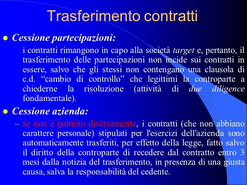 Trasferimento contratti l Cessione partecipazioni: i contratti rimangono in capo alla società target e, pertanto, il trasferimento delle partecipazion