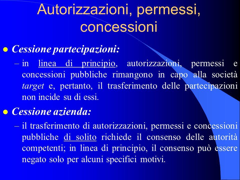 Autorizzazioni, permessi, concessioni l Cessione partecipazioni: –in linea di principio, autorizzazioni, permessi e concessioni pubbliche rimangono in