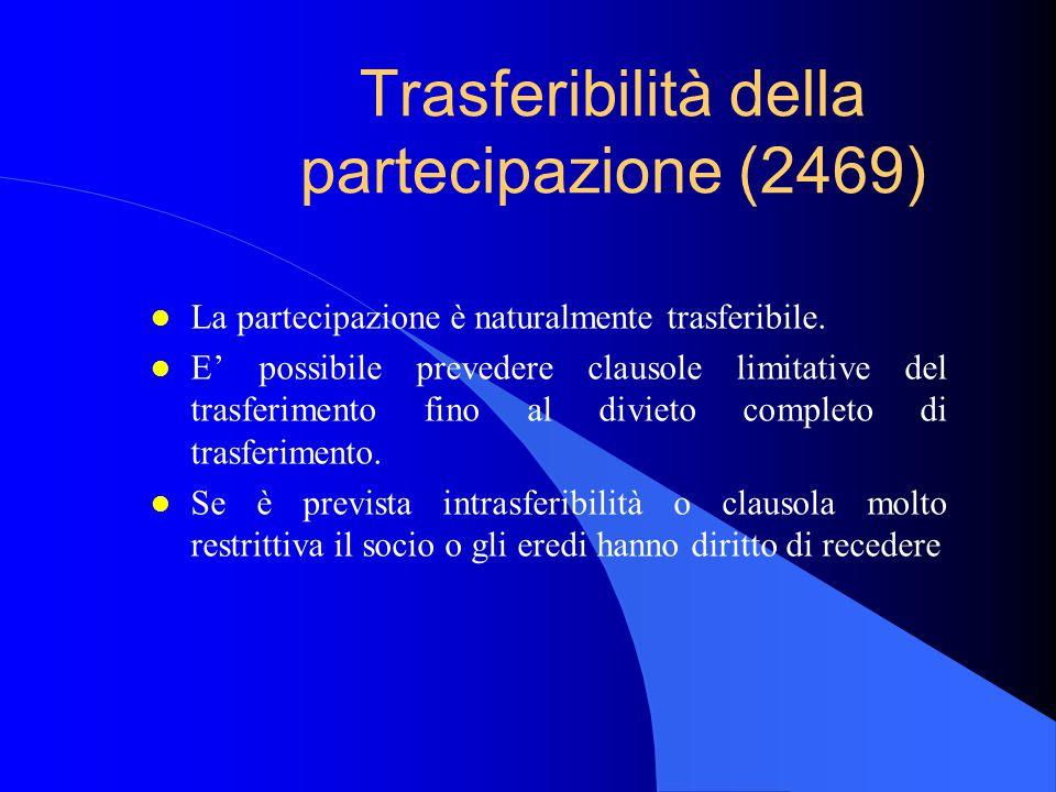 Trasferibilità della partecipazione (2469) l La partecipazione è naturalmente trasferibile. l E' possibile prevedere clausole limitative del trasferim