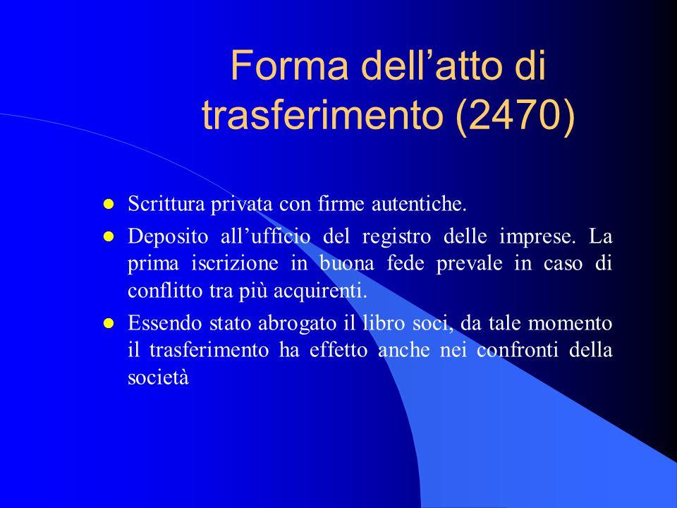 Forma dell'atto di trasferimento (2470) l Scrittura privata con firme autentiche. l Deposito all'ufficio del registro delle imprese. La prima iscrizio