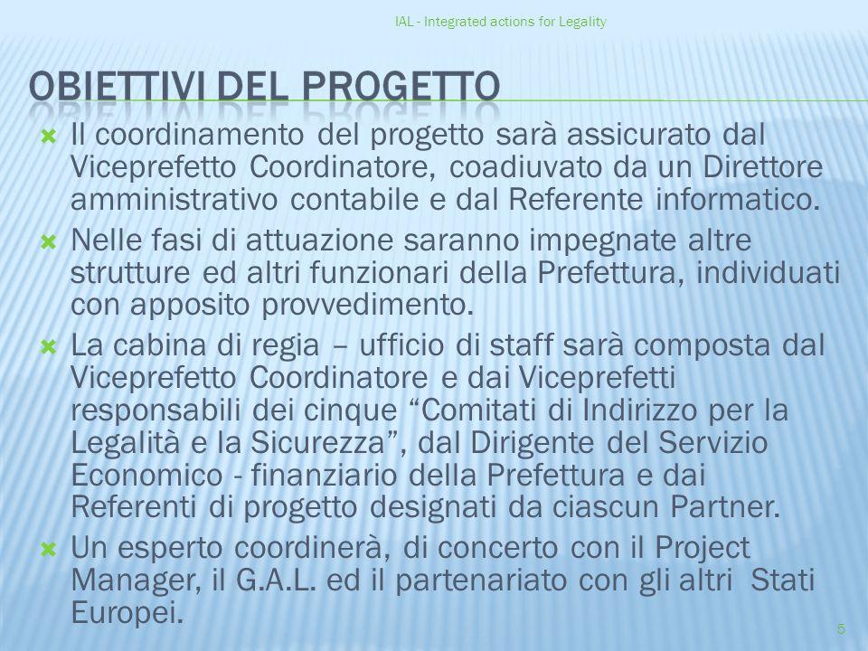 IAL - Integrated actions for Legality 5  Il coordinamento del progetto sarà assicurato dal Viceprefetto Coordinatore, coadiuvato da un Direttore amministrativo contabile e dal Referente informatico.