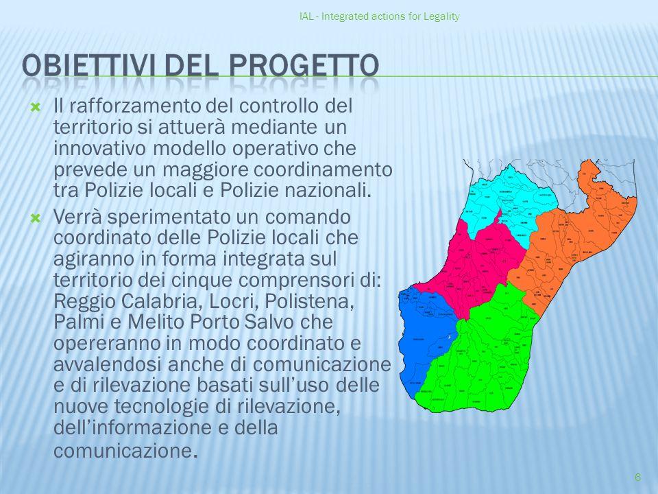 IAL - Integrated actions for Legality 6  Il rafforzamento del controllo del territorio si attuerà mediante un innovativo modello operativo che prevede un maggiore coordinamento tra Polizie locali e Polizie nazionali.