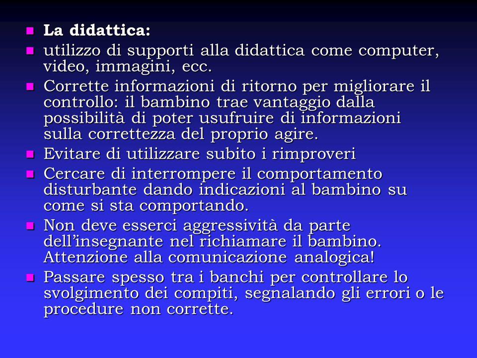 La didattica: La didattica: utilizzo di supporti alla didattica come computer, video, immagini, ecc. utilizzo di supporti alla didattica come computer
