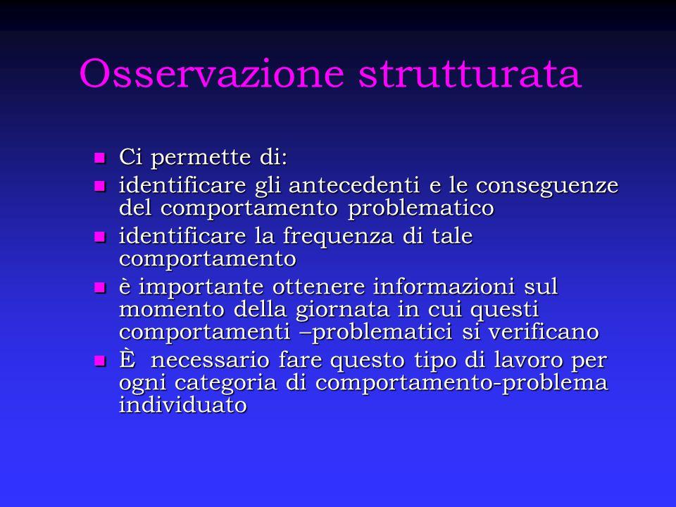Osservazione strutturata Ci permette di: Ci permette di: identificare gli antecedenti e le conseguenze del comportamento problematico identificare gli