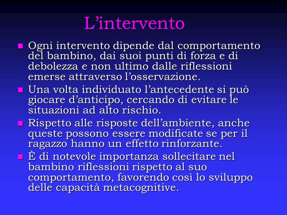 L'intervento Ogni intervento dipende dal comportamento del bambino, dai suoi punti di forza e di debolezza e non ultimo dalle riflessioni emerse attra