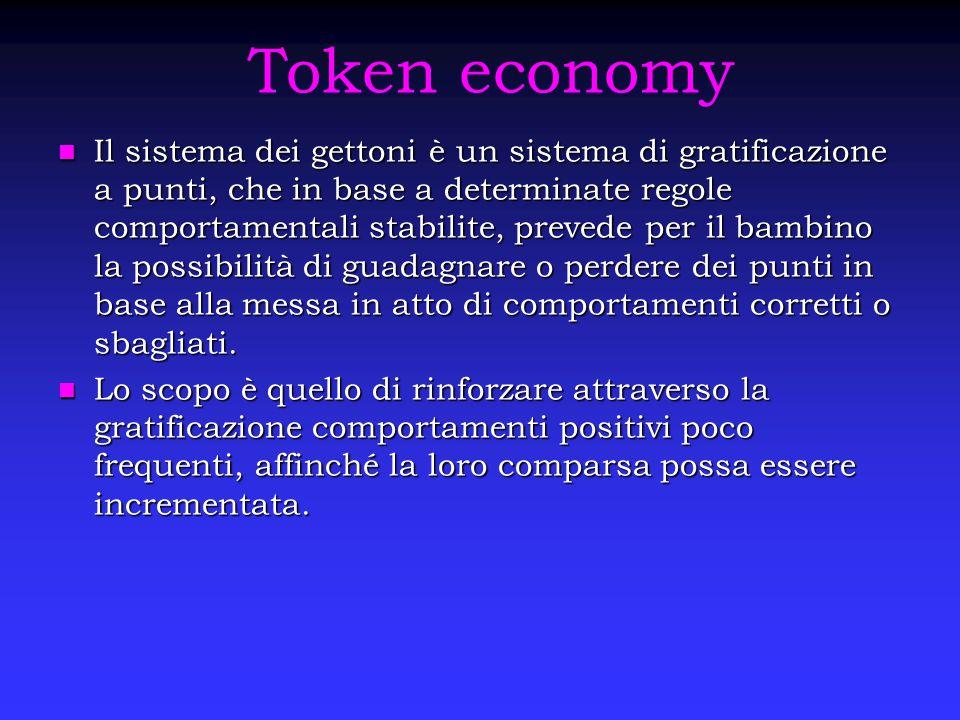 Token economy Il sistema dei gettoni è un sistema di gratificazione a punti, che in base a determinate regole comportamentali stabilite, prevede per i