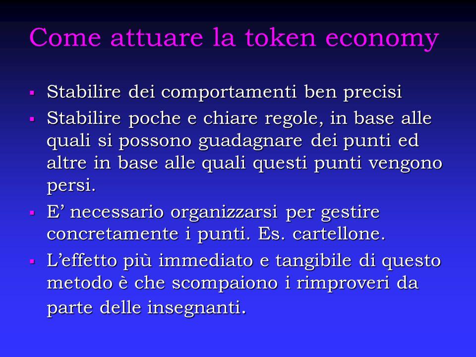 Come attuare la token economy  Stabilire dei comportamenti ben precisi  Stabilire poche e chiare regole, in base alle quali si possono guadagnare de