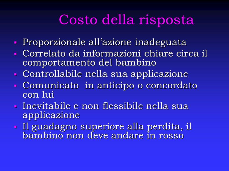 Costo della risposta  Proporzionale all'azione inadeguata  Correlato da informazioni chiare circa il comportamento del bambino  Controllabile nella