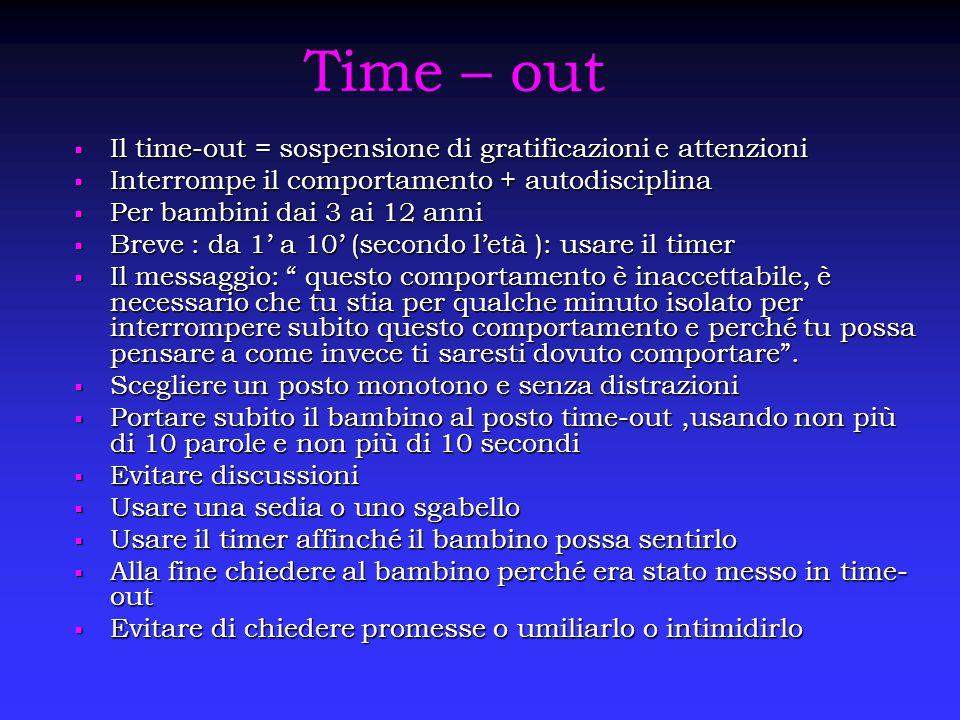 Time – out  Il time-out = sospensione di gratificazioni e attenzioni  Interrompe il comportamento + autodisciplina  Per bambini dai 3 ai 12 anni 