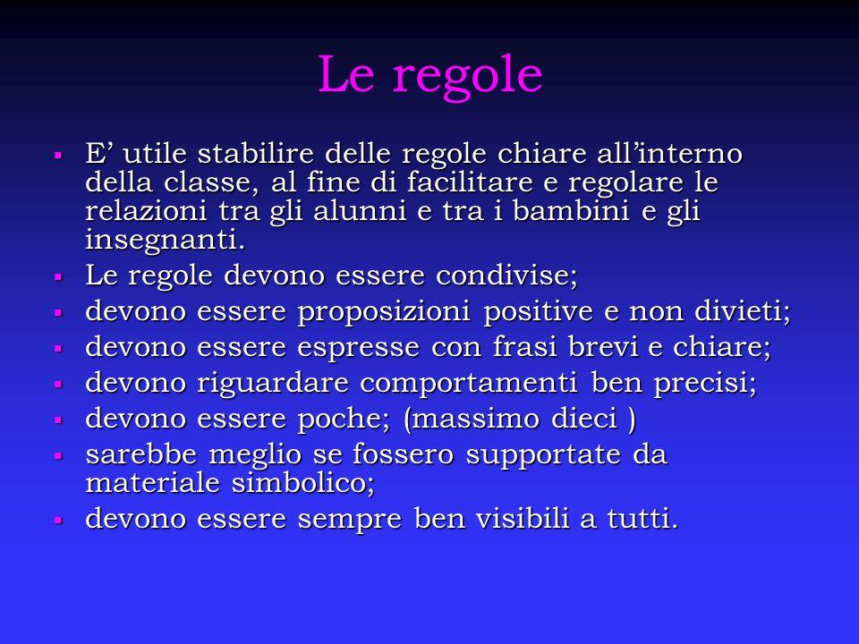 Le regole  E' utile stabilire delle regole chiare all'interno della classe, al fine di facilitare e regolare le relazioni tra gli alunni e tra i bamb