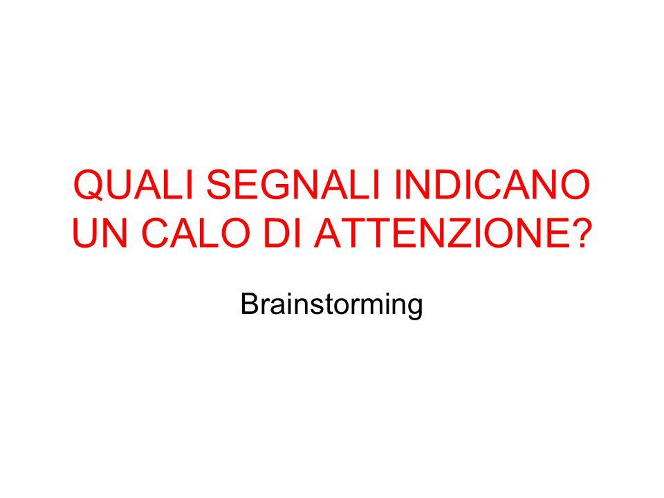 QUALI SEGNALI INDICANO UN CALO DI ATTENZIONE? Brainstorming