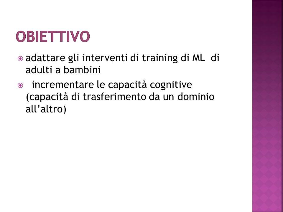  adattare gli interventi di training di ML di adulti a bambini  incrementare le capacità cognitive (capacità di trasferimento da un dominio all'altr
