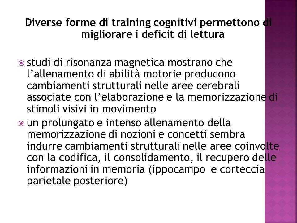 Diverse forme di training cognitivi permettono di migliorare i deficit di lettura  studi di risonanza magnetica mostrano che l'allenamento di abilità