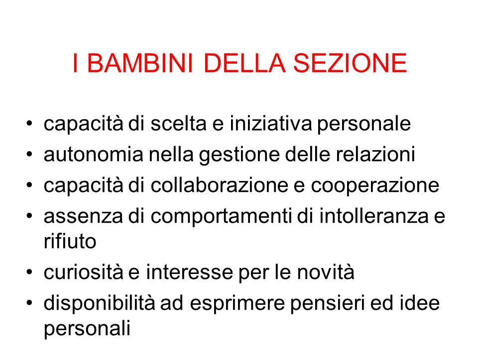 I BAMBINI DELLA SEZIONE capacità di scelta e iniziativa personale autonomia nella gestione delle relazioni capacità di collaborazione e cooperazione a