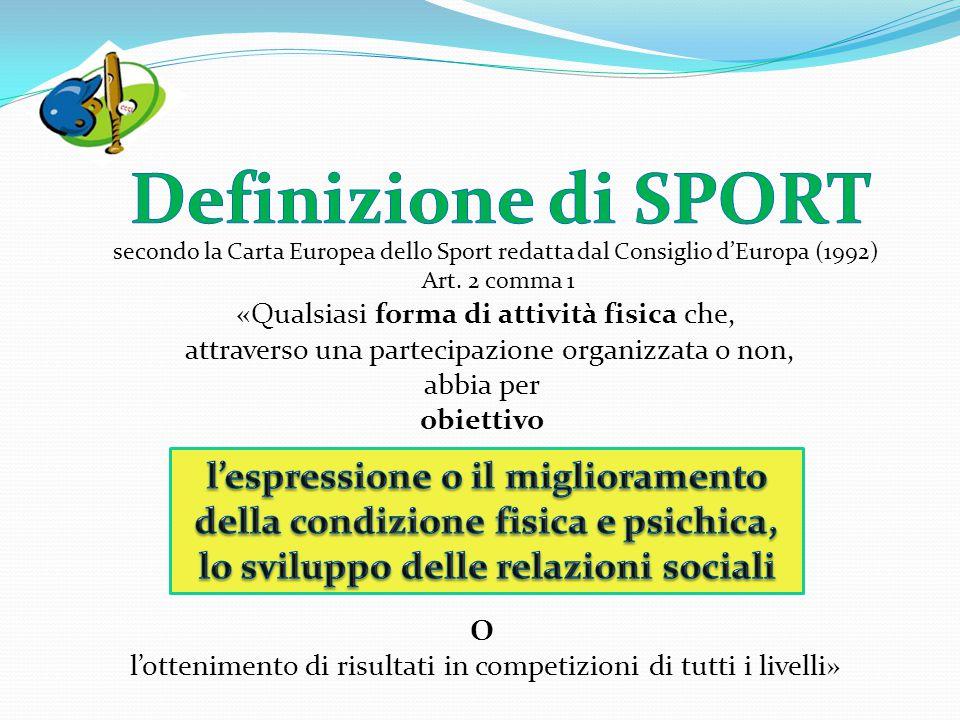 secondo la Carta Europea dello Sport redatta dal Consiglio d'Europa (1992) Art. 2 comma 1 «Qualsiasi forma di attività fisica che, attraverso una part