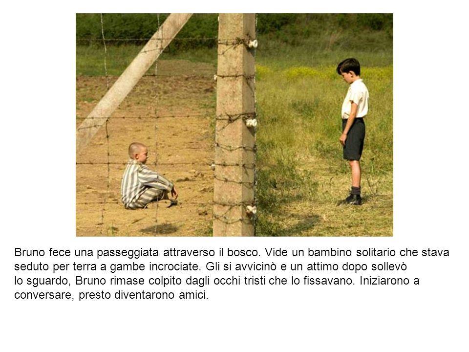 Bruno fece una passeggiata attraverso il bosco. Vide un bambino solitario che stava seduto per terra a gambe incrociate. Gli si avvicinò e un attimo d