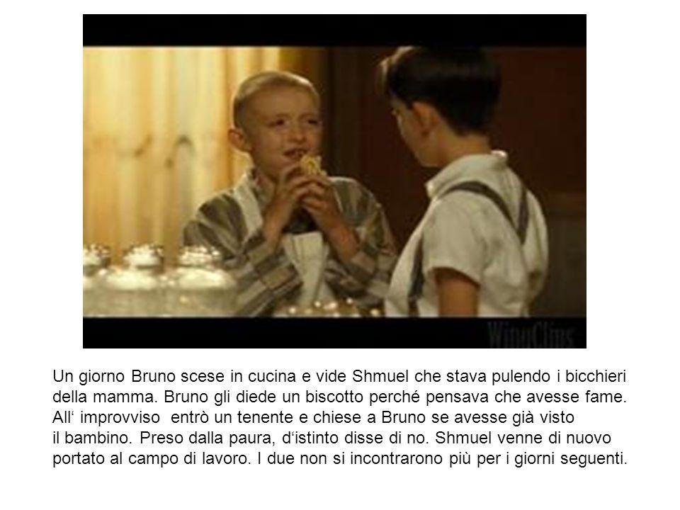 Un giorno Bruno scese in cucina e vide Shmuel che stava pulendo i bicchieri della mamma. Bruno gli diede un biscotto perché pensava che avesse fame. A