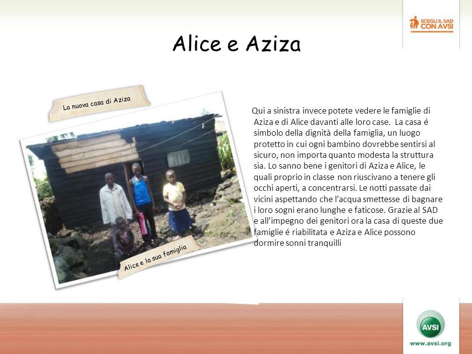 Alice e Aziza Qui a sinistra invece potete vedere le famiglie di Aziza e di Alice davanti alle loro case.