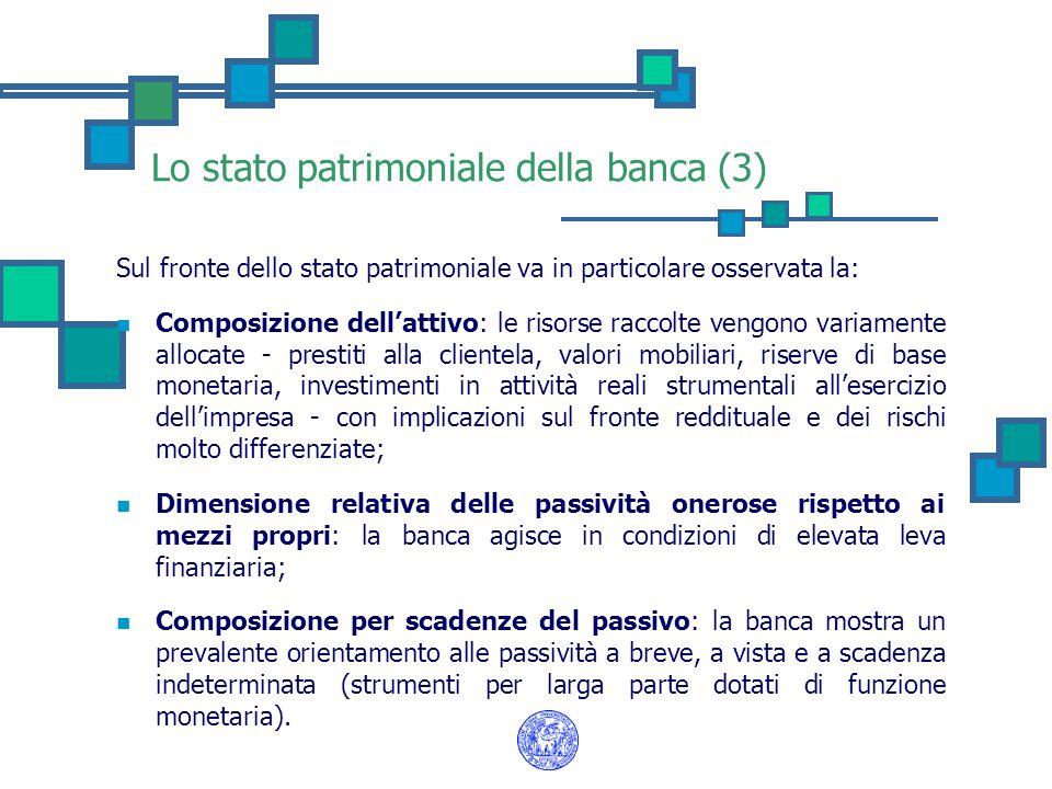 Lo stato patrimoniale della banca (3) Sul fronte dello stato patrimoniale va in particolare osservata la: Composizione dell'attivo: le risorse raccolt